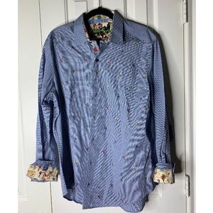 Robert graham blue football button down large